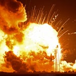 The Antares Rocket explodes on takeoff from Wallops Tuesday night.