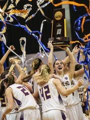 The Ashland University women's basketball team celebrates