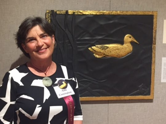 """Anne Cunningham's touchable art, """"Next Morning,"""" is her first appearance in """"Birds in Art."""""""