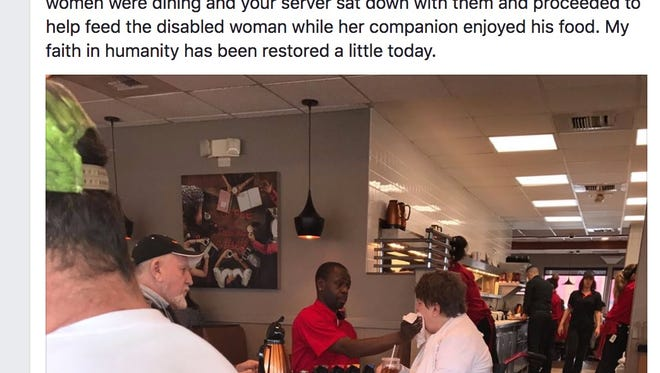 Joe Thomas, who has worked at IHOP for 11 years, was photographed helping one of his regular customers eat on Saturday, CBS News reported.