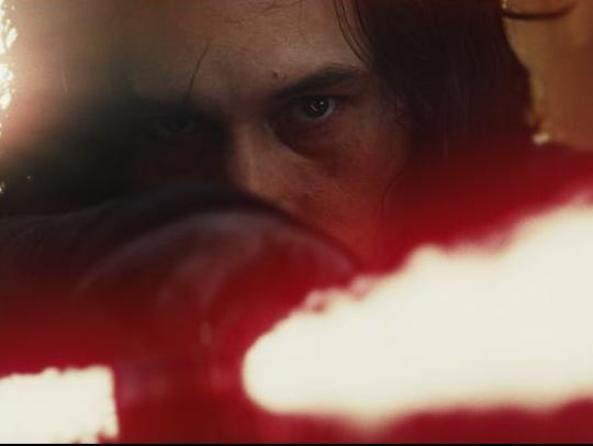 "Adam Driver as Kylo Ren in ""Star Wars: The Last Jedi."""