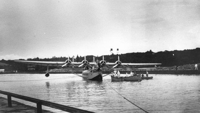 A Pan American Clipper landing at its slip in Sumay, pre-war.