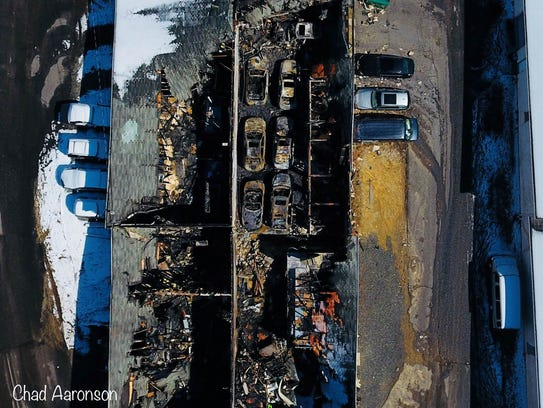 A view of the fire damage in Lakewood as seen from