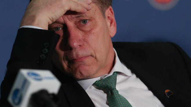 MSU coach Tom Izzo was understandably distraught postgame.