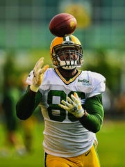 Tight end Brandon Bostick was one of more than 10 former practice-squad players on the Green Bay Packers' active roster last season.