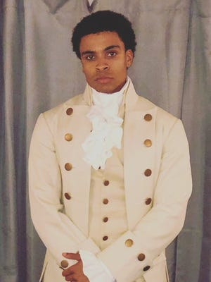 """Jamaal Fields-Green, backstage at Chicago's CIBC Theater, preparing to go on as John Laurens and Phillip Hamilton in the Chicago production of Lin-Manuel Miranda's ground-breaking musical, """"Hamilton."""""""