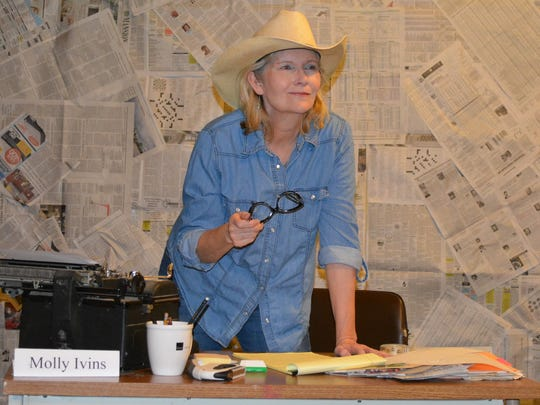 Mary Maxson performed a one-woman show as Molly Ivins.