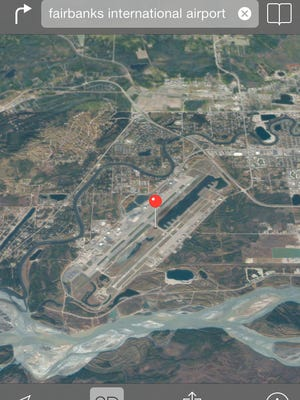 The iPhone mapp app sent two drivers through the runway at Fairbanks International Airport this month.
