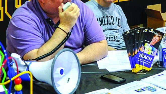 Instructor Neil Callahan, with bullhorn, is a tireless promoter of Pamlico Community College. This summer, he is advising new and returning students so they can be ready for the upcoming Fall 2020 semester. He can be reached at 252-229-9710 or ncallahan@pamlicocc.edu.