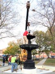 A memorial fountain to late Mount Pleasant Mayor Edd