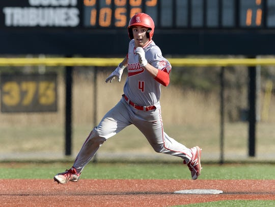 Canandaigua's Joe Brinza rounds second base after a