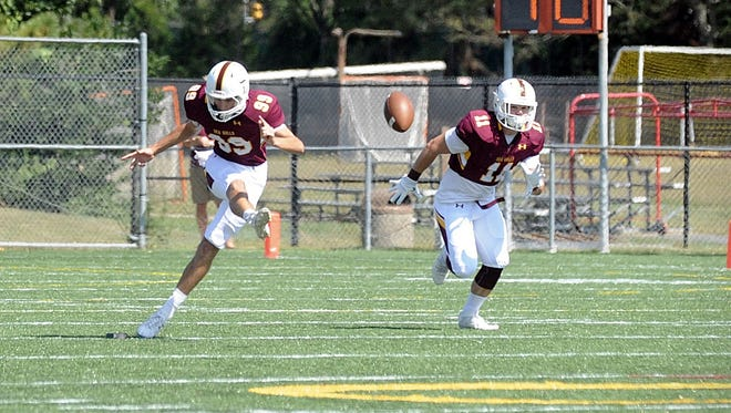 Salisbury punter Tim Steindl kicks off against Montclair State on Saturday, Sept. 17 at Sea Gull Stadium in Salisbury.