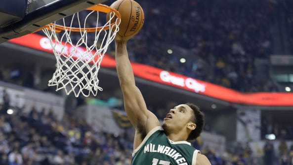 Malcolm Brogdon puts up a shot during the first half