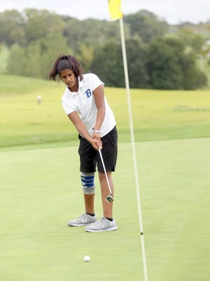 Boonville sophomore Hannah LeGrant sinks this putt on No. 3 Tuesday at Hail Ridge Golf Course in Boonville. LeGrant finished second overall in the meet with a 5-over par 40. The Lady Pirates won the dual against Southern Boone by 14 strokes 181-195.