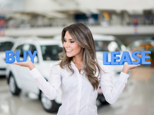 Woman buying or leasing a car