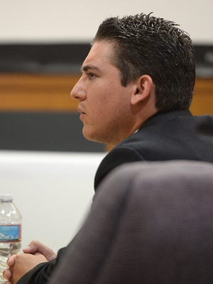 "Kevin Hogrefe, of Camarillo, listens to opening statements Monday at Ventura County Superior Court. Hogrefe faces a second-degree murder charge in the death of Ventura County Sheriff's Deputy Yevhen ""Eugene"" Kostiuchenko, who was killed at Highway 101 and Lewis Road in Camarillo in October 2014."