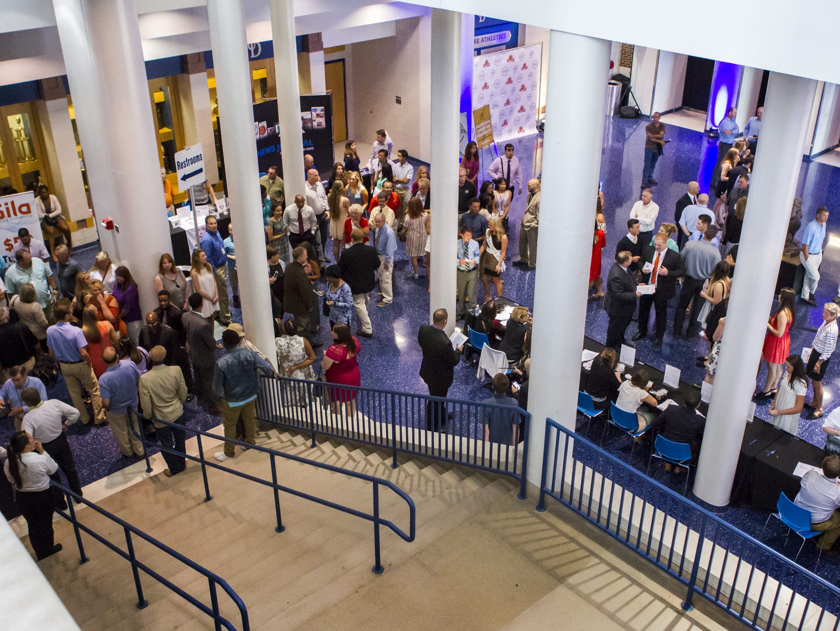 Guests at the Delaware Sports Awards banquet fill the lobby of the Bob Carpenter Center at the University of Delaware in Newark on Wednesday evening.
