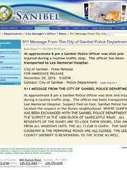 Message from Sanibel Police per Sunday's shooting