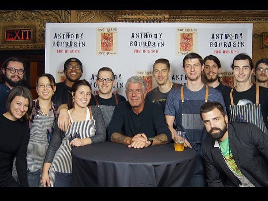The staff of Hazel Park restaurant Mabel Gray pictured with the late Anthony Bourdain during a VIP dinner event in Detroit in 2016.