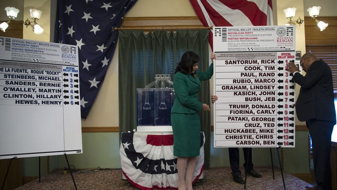 Arizona Secretary of State Michele Reagan (left) and Arizona Lottery executive director Tony Bouie hold up the ballot on Tuesday, Dec. 15, 2015. The random drop of the balls from the Arizona Lottery's machine determined the order in which candidates for the Democratic and Republican presidential primaries will be listed on Arizona's ballot.