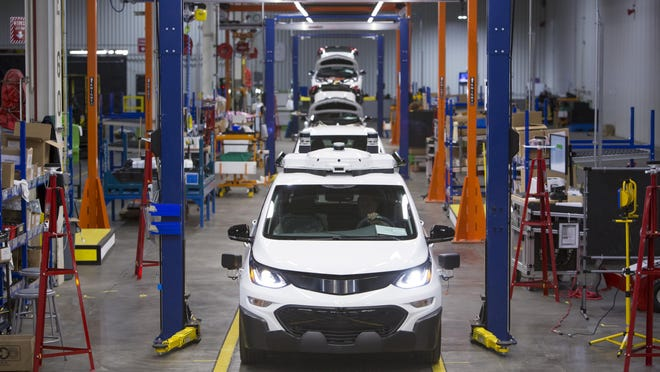 Chevrolet Bolt EV autonomous test vehicles are assembled at General Motors Orion Assembly in Orion Township.