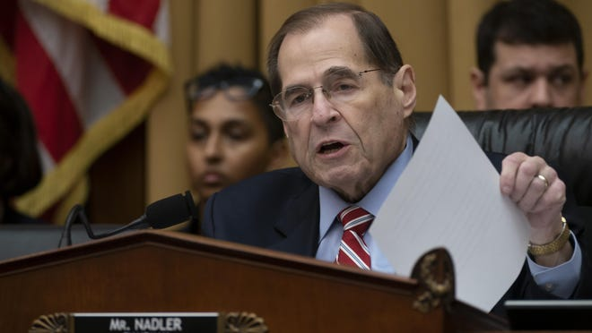 House Judiciary Committee Chair Jerrold Nadler, D-N.Y., works to pass a resolution to subpoena special counsel Robert Mueller's full report, on Capitol Hill in Washington, Wednesday, April 3, 2019. (AP Photo/J. Scott Applewhite)