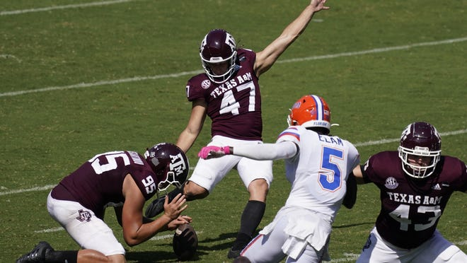 Texas A&M kicker Seth Small blasts a game winning 26-yard field goal in the Aggies' 41-38 upset win over Florida at Kyle Field on Saturday.