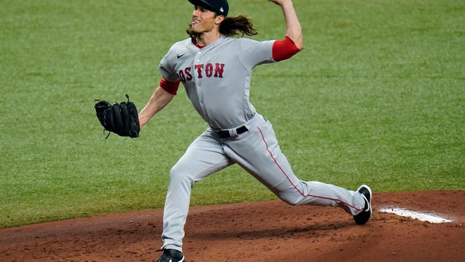 Boston Red Sox's Mike Kickham pitches to the Tampa Bay Rays during the first inning of a baseball game Thursday, Sept. 10, 2020, in St. Petersburg, Fla.