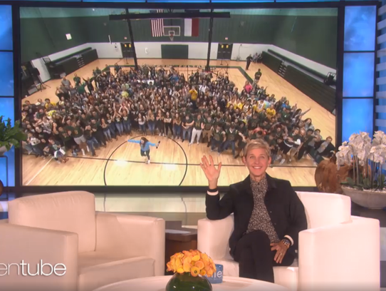 Daytime host Ellen DeGeneres announced a $1 million partnership with Lowe's to build a new gymnasium for Rockport-Fulton ISD. The school district's previous gym was destroyed by Hurricane Harvey in August.
