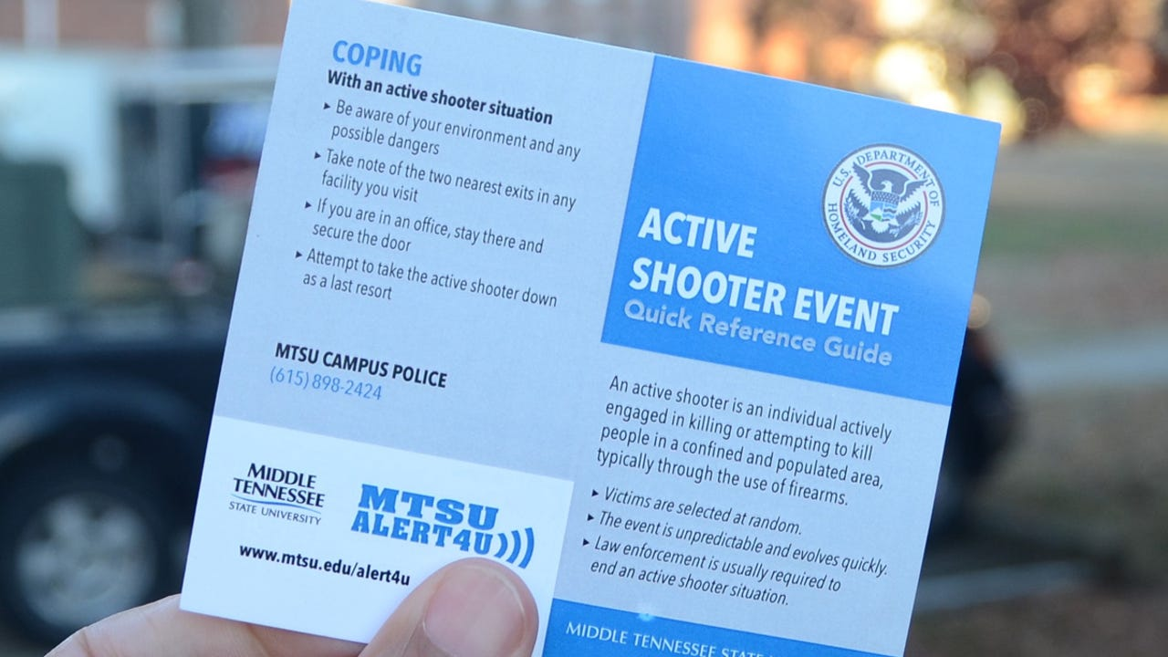 A pocket-sized MTSU active shooter guide contains general