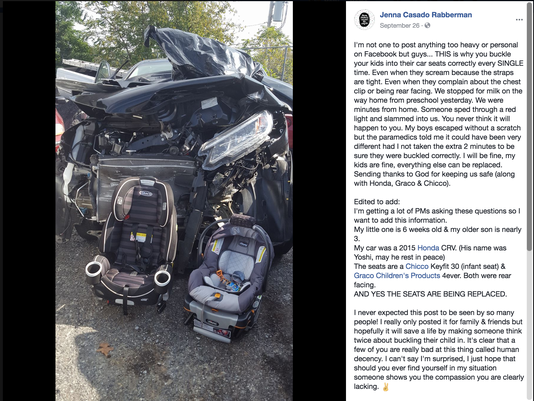 Car seats save lives, mom says in Facebook post with photo after crash