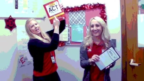 East High counselors Ashlee Duimstra (on left) and Lauren Brandt-Erickson created a spoof music video to remind students of the ACT exam.