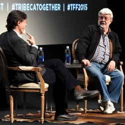 George Lucas, right, and Stephen Colbert speak onstage at Tribeca Talks during the Tribeca Film Festival on April 17, 2015, in New York.