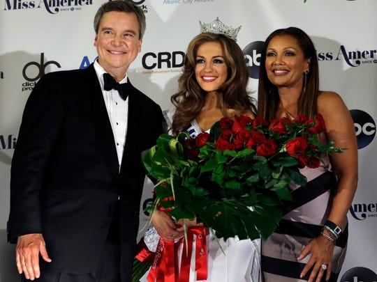 Newly crowned Miss America Betty Cantrell, center,