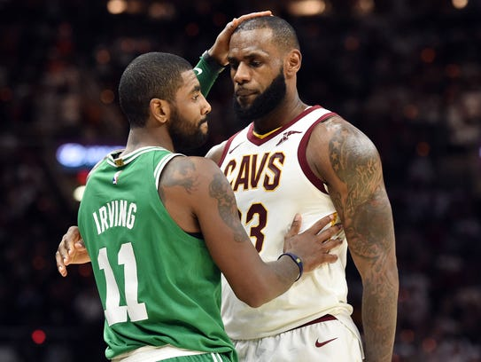 Cleveland Cavaliers forward LeBron James (23) and Boston