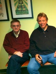 """Ron Woolman sits in the artist """"green room"""" at the Country Music Hall of Fame with his late friend, Hall of Fame songwriter Wayne Carson, who was behind several hits, including """"You Were Always On My Mind."""""""