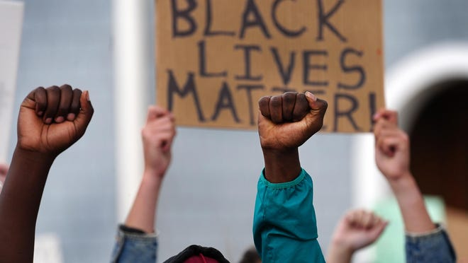 Nearly 200 people gathered at the Seashell Stage at Hampton Beach Monday for a Black Lives Matter protest of the killing of Floyd. Protests are being planned in Portsmouth beginning Thursday.