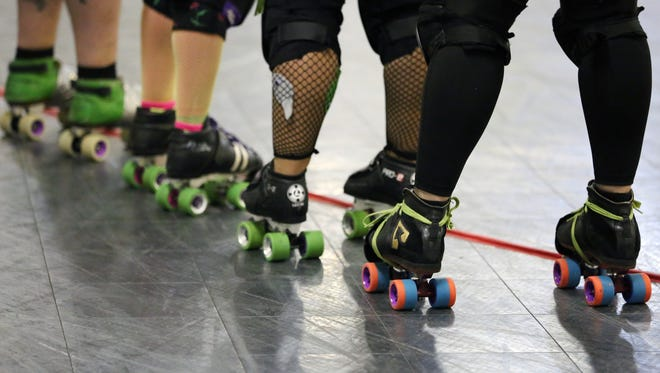 Roller skates worn by derby players