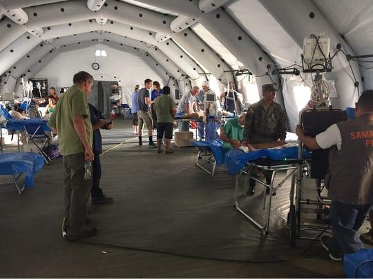 Temporary tent hospital provided by Samaritan's Purse.