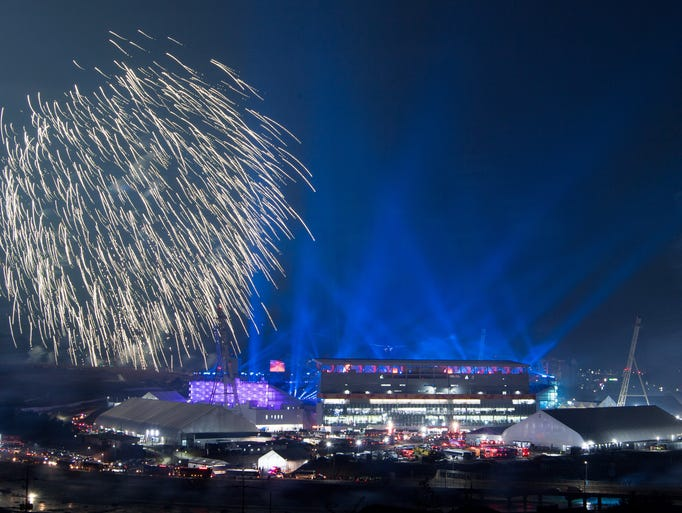 Fireworks launch near the stadium during the Pyeongchang