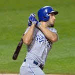 Royals first baseman Eric Hosmer hits a solo home run in the ninth inning against the Cleveland Indians at Progressive Field as Kansas City beat Cleveland 2-1 on Tuesday night.