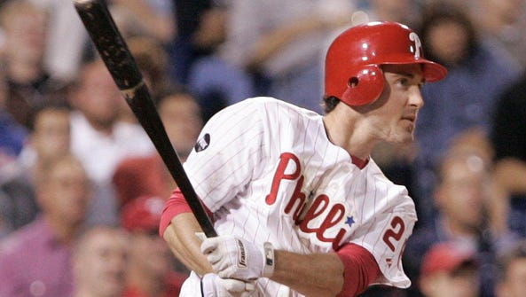 Chase Utley watches a two run homer in 2007.