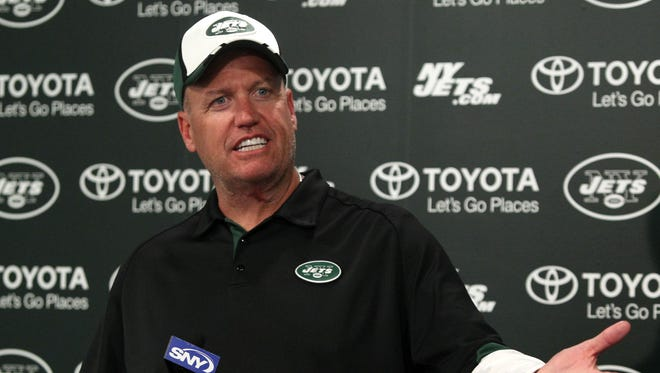 New York Jets head coach Rex ryan answers questions from media during minicamp at Jets Atlantic Health Training Center.