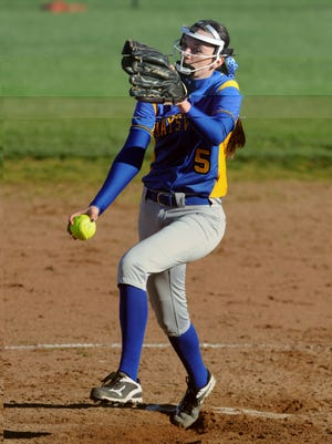 Maysville's Madison Riggle delivers a pitch against Crooksville earlier this season. Riggle, a senior, hopes add an MVL title to her storied career.