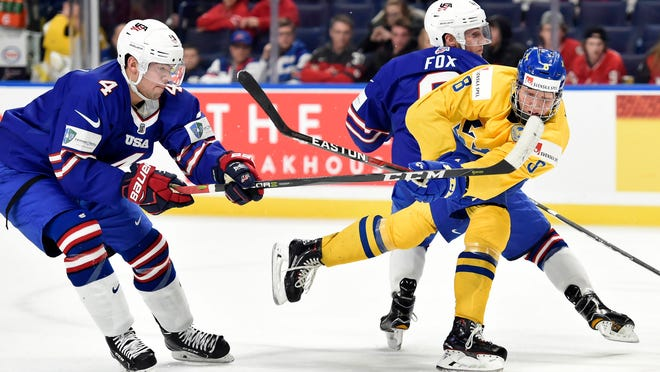 Sweden's Rasmus Dahlin (8) is the reason to rejoice if (when) the Red Wings miss the 2018 playoffs, because then they'd be in the draft lottery with a chance to win the right to draft this future franchise defenseman.