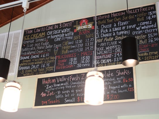 The menu board at Zoe's Ice Cream Barn on Route 55