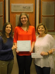Pictured (center) is Eskow Award winner Jacqueline Smith of Denville with co-chairs of the awards committee, Jen Pawlak (left) and Susie Botwinick (right).