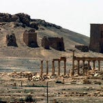Palmyra is northeast of Damascus, Syria.
