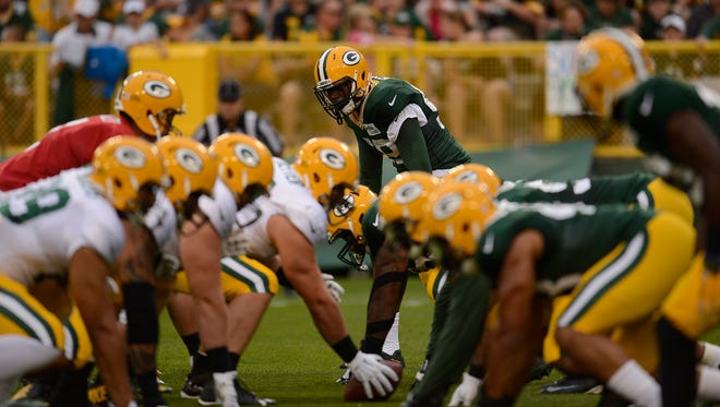 Green Bay Packers linebacker Jermauria Rasco (59) during Packers Family Night at Lambeau Field on Saturday, Aug. 8, 2015.