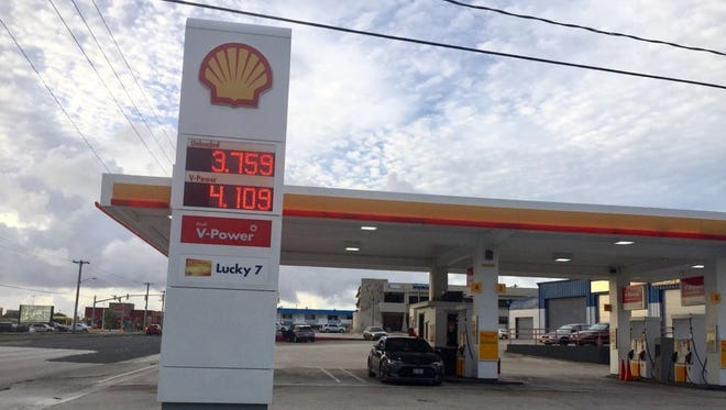 Gas prices at a Shell service station on June 21, 2017.